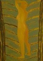 025-vrouw-in-bos-2002-acryl-papier-100x70