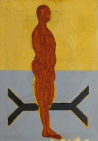 030-figuur-in-landschap-acryl-papier-100x70